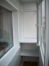Остекление балкона + полки + обшивка стен (стеновыми панелями) + пластиковый откос балконного блока